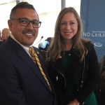 H.E Ambassador Dr. Arjun Kumar Karki during a meeting with Chelsea Clinton to discuss about earthquakes related reconstruction works and current political situation in Nepal.