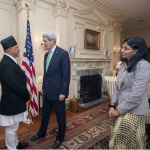 H.E Ambassador Dr. Arjun Kumar Karki discussing bi-lateral issues on Nepal-U.S. relations with the U.S. Secretary of State, John F. Kerry and Nisha Desai Biswal, the Assistant Secretary of State for South and Central Asian Affairs for the U.S.