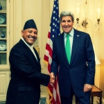 H.E Ambassador Dr. Arjun Kumar Karki shakes hands with the U.S. Secretary of State John F. Kerry during a discussion on Bilateral issues on Nepal U.S. relations.