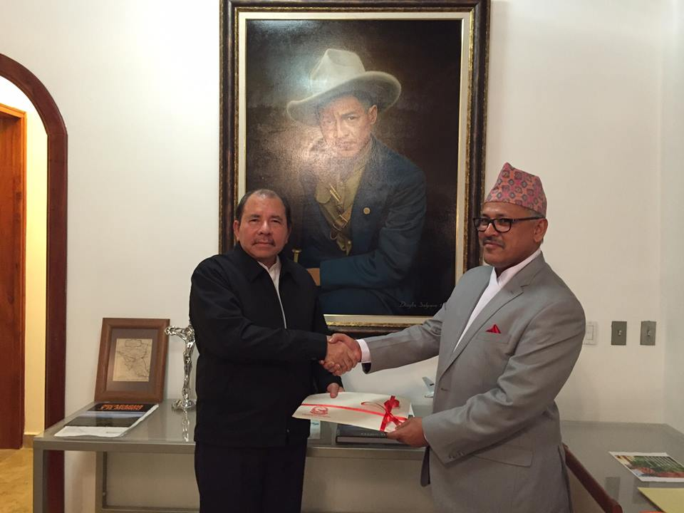 His Excellency Dr. Arjun Kumar Karki presents letters of credence to H.E Daniel Ortega Saavedra, President of the Republic of Nicaragua