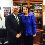 H.E Ambassador Dr. Arjun Kumar Karki shakes hands with The United States Senator Dianne Feinstein after a meeting on Nepal Trade Preferences Act between Nepal and The United States.