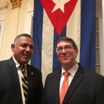 H.E Ambassador Dr. Arjun Kumar Karki during a meeting with the H.E Bruno Eduardo Rodríguez Parrilla, Foreign Minister of Cuba in the sideline of the opening ceremony of Embassy of Cuba in Washington, D.C.