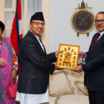 Visiting Chief of Army Staff (CoAS) General Rajendra Chhetri presents token of love to the H.E Ambassador Dr. Arjun Kumar Karki at a function organized at the Nepal Embassy Residence, Washington D.C. April 28, 2016