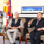 H.E Ambassador Dr. Arjun Kumar Karki briefs Deputy Prime Minister and Minister for Foreign Affairs Hon'ble Kamal Thapa during his visit to the embassy. April 24, 2016