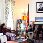 Visiting Deputy Prime Minister and Minister for Foreign Affairs Hon'ble Kamal Thapa with the H.E Ambassador Dr. Arjun Kumar Karki interacts with the staffs at the Embassy. April 24, 2016.