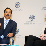 Deputy Prime Minister and Minister for Foreign Affairs Kamal Thapa during an interaction organize by Washington DC based United States Institute of Peace to mark the first year of the destructive earthquake occurred in Nepal. Monday, April 25, 2016. Photo: EONDC/Kumar Shrestha