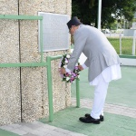 H.E. Dr. Karki pays his respects to the country by the laying of this wreath at the Independence Arch, Brickdam.