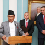 Minister for Finance Gyanendra Bahadur Karki delivers remarks along with the US Deputy Secretary of State Mr. John J. Sullivan and MCC CEO Mr. Jonathan Nash (right) after signing of financial grant assistance of USD 500 million to Nepal by the US Government's Millennium Challenge Corporation (MCC) on Thursday September 14, 2017 at a Treaty Hall, Department of State, Washington D.C.